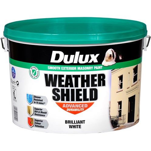 Dulux Weathershield Masonry Brilliant White Paint - 10 Litre