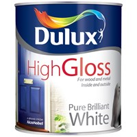 Dulux  High Gloss Pure Brilliant White Paint - 750ml
