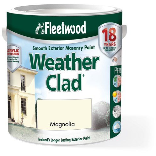 Fleetwood Weather Clad Smooth Masonry Magnolia Paint - 5 Litre