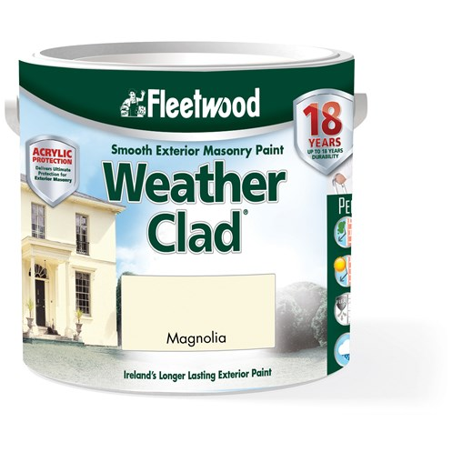 Fleetwood Weather Clad Smooth Masonry Magnolia Paint - 2.5 Litre