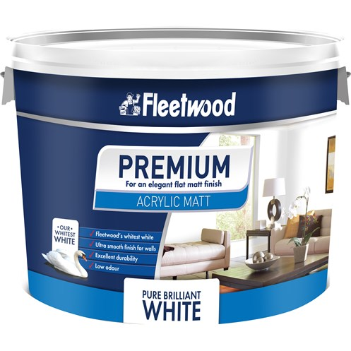 Fleetwood Premium Acrylic Matt Emulsion Brilliant White Paint - 10 Litre