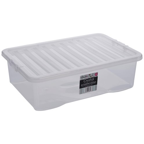 Wham  Crystal Underbed Storage Box & Lid Clear - 32 Litre