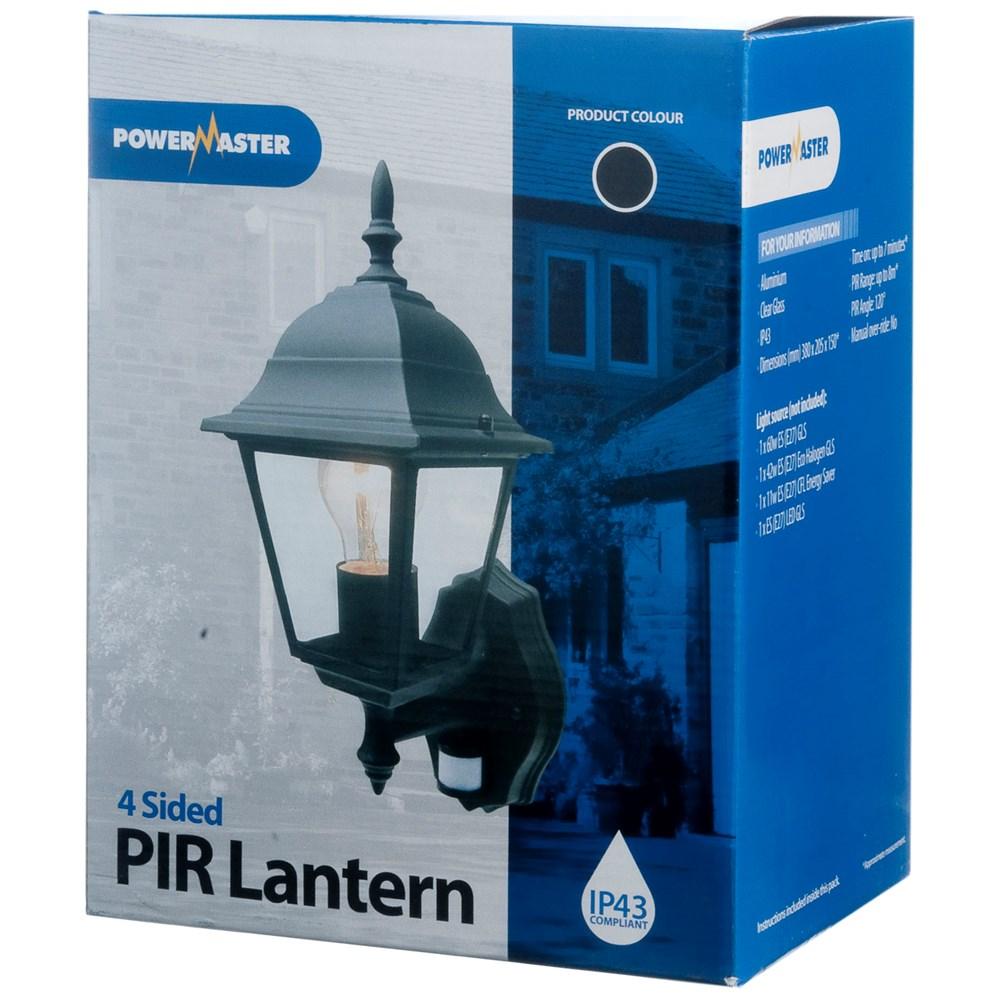 Powermaster 4 Sided PIR Wall Lantern Black - 60W   Decorative