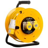 Powermaster  50m Open Cable Reel Cassette - 16 Amp 2 Gang