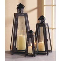 Allison Garden Land  Set of 3 Black Lanterns